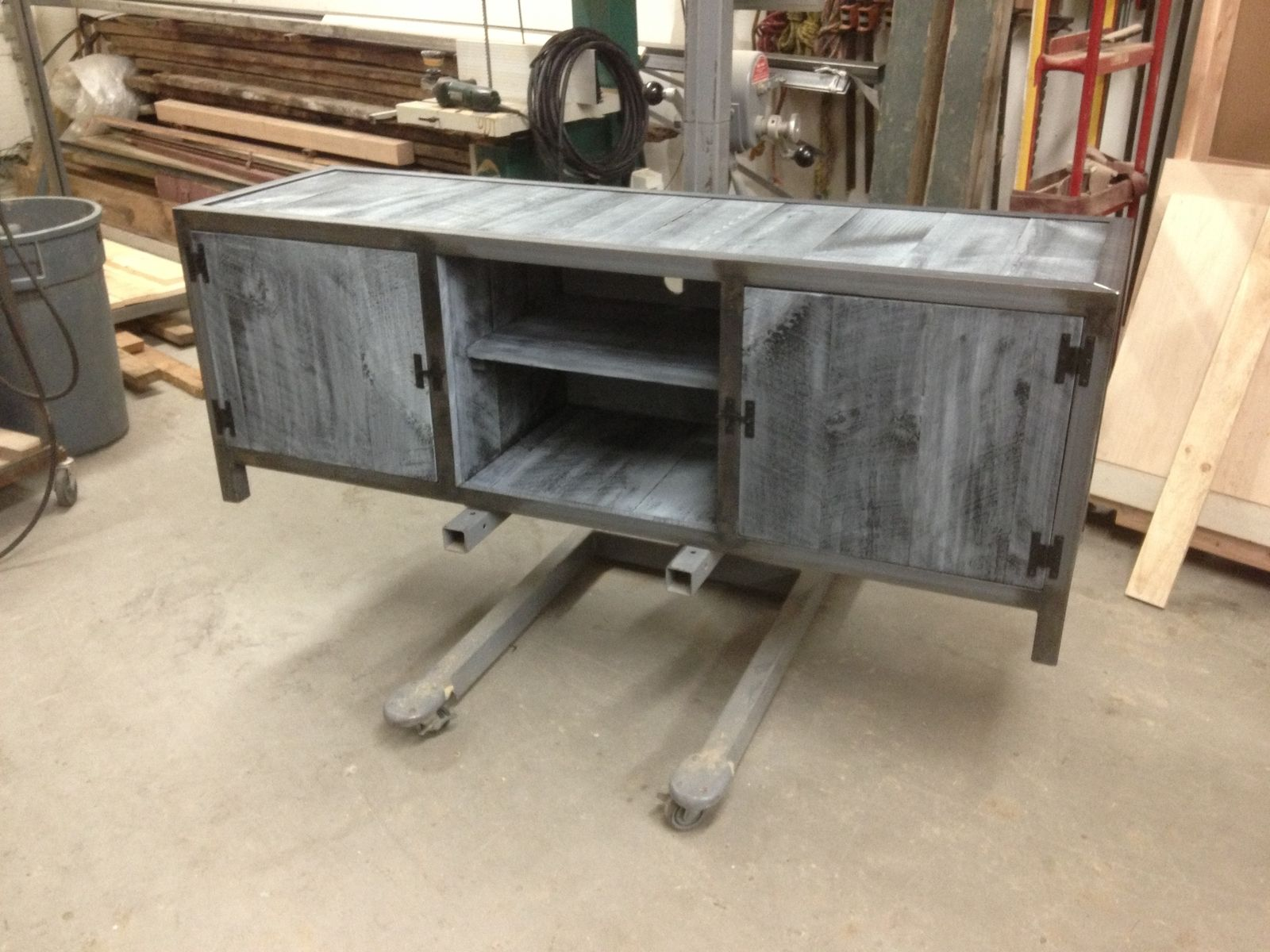 Handmade industrial console table with blue washed pine by new custom made industrial console table with blue washed pine geotapseo Gallery