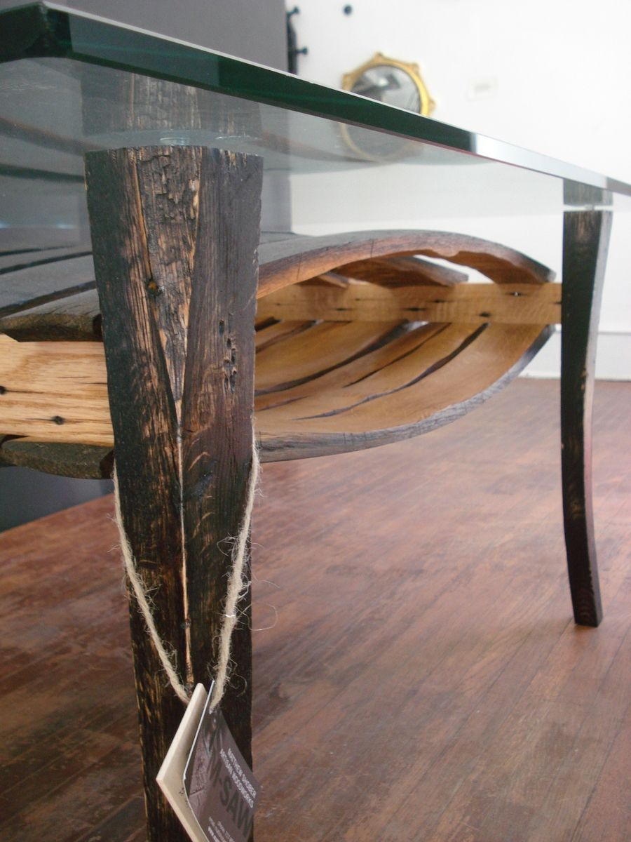 Custom Salvaged Wine Barrel Stave Table By M Saw Shober