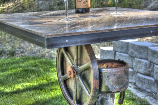 Custom Made Rustic Industrial Bar Height Table
