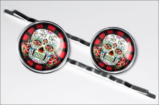 Custom Made Day Of The Dead Tattoo Rays Silver Hair Clip Set 61-Shc