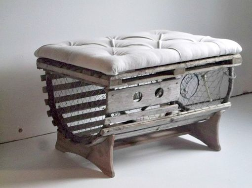 Custom Made Reclaimed Vintage Lobster Trap Coffee Table With Tufted Ottoman