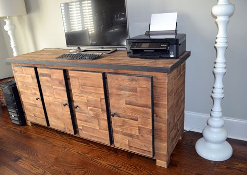 Custom Made Custom Reclaimed Wood Desk With Storage.