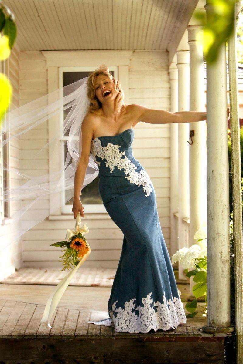 15f5ef76f14 Handmade Denim Wedding Dress by Bella Vittoria