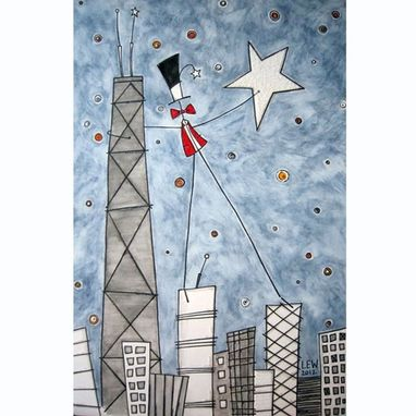 Custom Made Starry Skyline Original Watercolor Painting