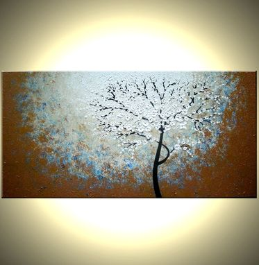 Custom Made Original Abstract Tree Painting, Textured Cherry Blossom Flowers, Abstract Metallic White Impasto