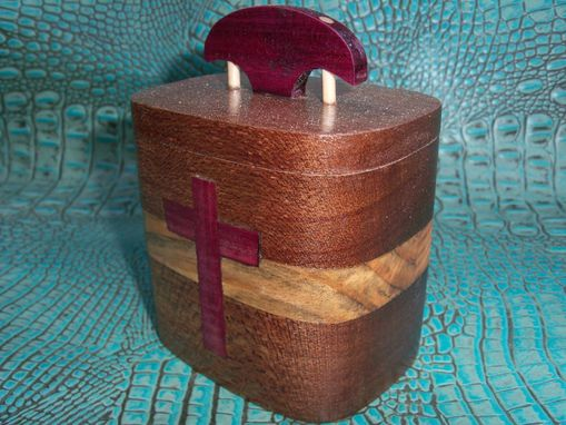 Custom Made Hardwood Keepsake Box With Purpleheart Cross Inlay
