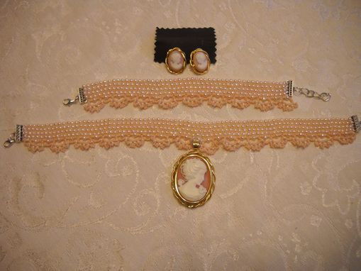 Custom Made Pink Cameo Pearl Choker Necklace Set