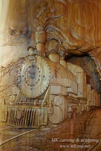 Hand Made Relief Carving Quot Steam Engine Locomotive Quot By Mk