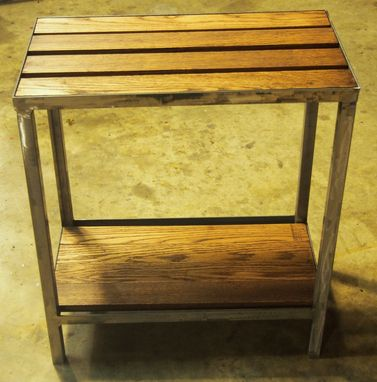 Custom Made Industrial Side Table - Oak Pallet Top
