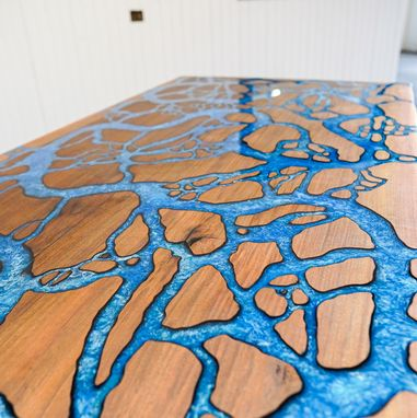 Custom Made Fractal Island & River Counter Top - Custom Epoxy - Dining Table