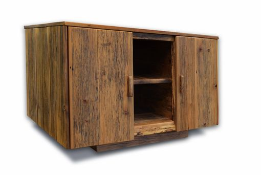 Custom Made Rustic Reclaimed Wood Media Cabinet