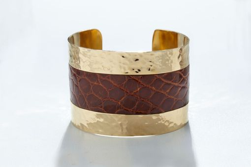 Custom Made Genuine Alligator Luxury Cuff/Bracelet With Hammered Gold Finish In Cognac (Brown)
