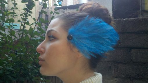 Custom Made Sale Sky Blue Feather Hair Fascinator, Great For Weddings & Special Occasions, Ready To Ship