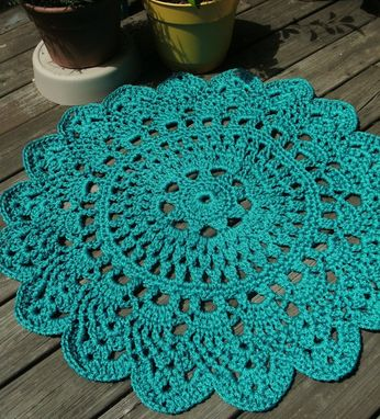 "Custom Made Turquoise Patio Porch Cord Crochet Rug In 35"" Pineapple Pattern"