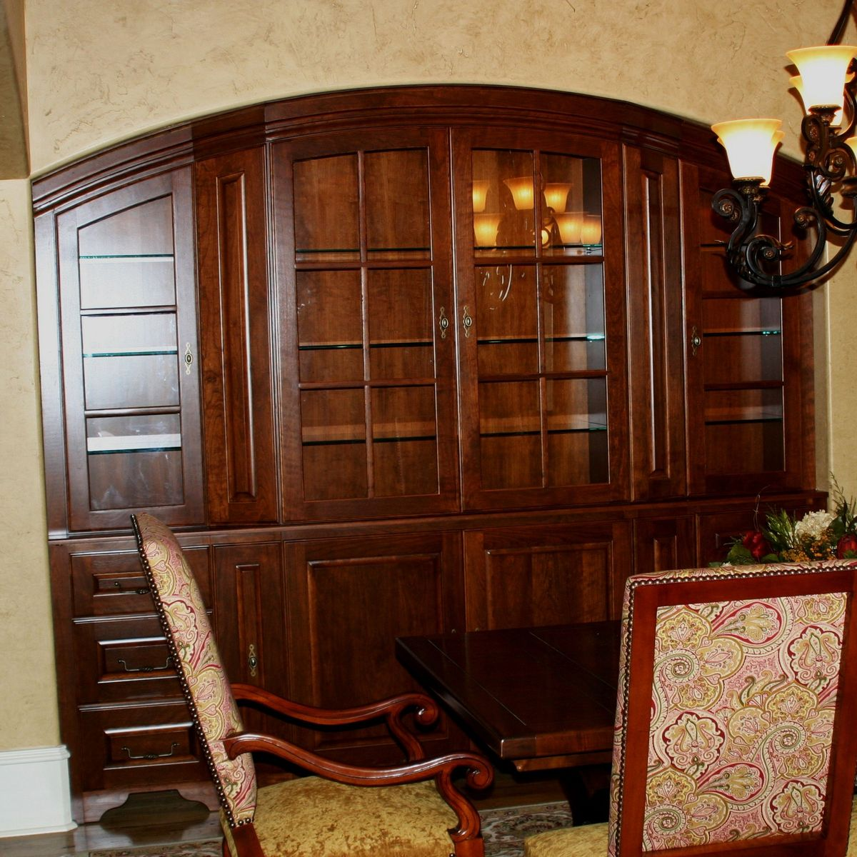 Custom cherry dining room china cabinet by carolina wood for Dining room cupboard designs