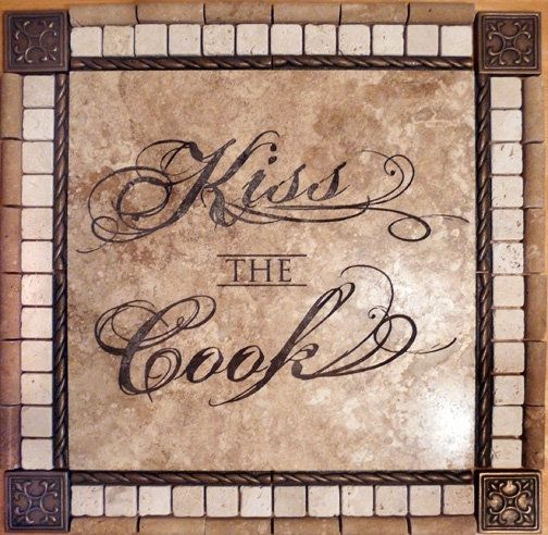 Custom Made Laser Engraved Noce Travertine Tile Kitchen Backsplash Medallion Mosiac With Metal Accents