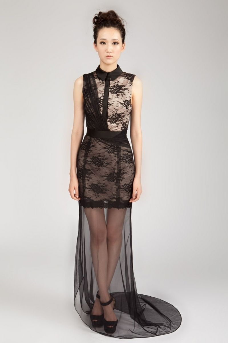 Hand Made Mysty Sheer Black Lace Party Dress Ispired By Diane ...