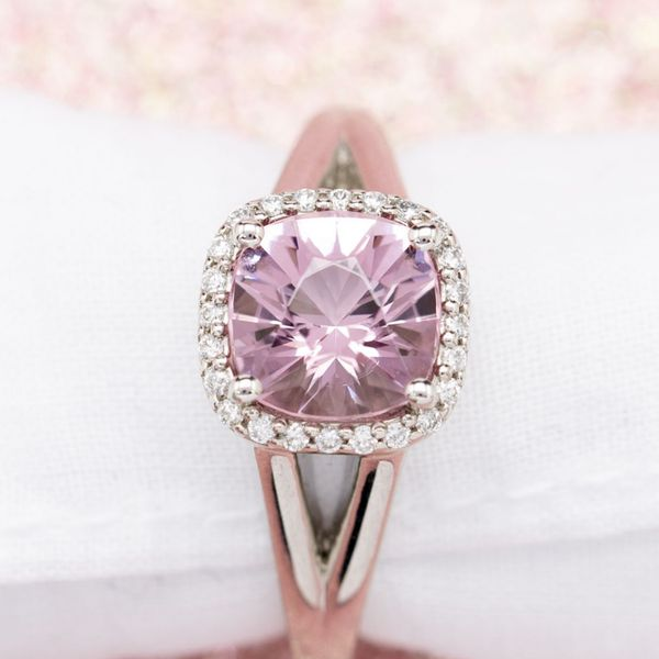 For this customer's ring, we custom cut a violet-tinged morganite to capture the desired color.