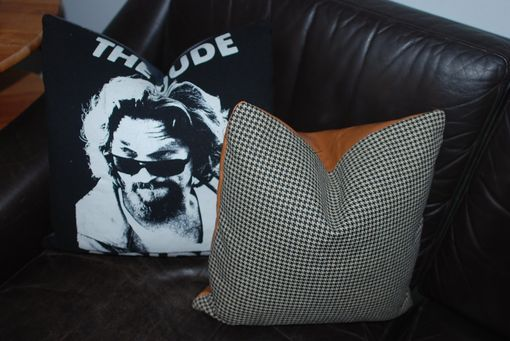 Custom Made 16x16 Menswear Collection Black And White Houndstooth Pillow Cover With Leather Back