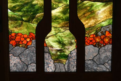 Custom Made Stained Glass Entry Landscape Detail- Poppies