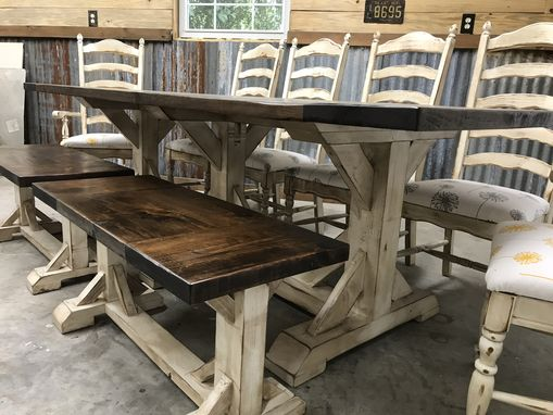 Custom Made Ten Person Trestle Farmhouse With Double Benches