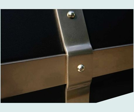 Custom Made Black Range Hood With Brass Straps & Pot Rail