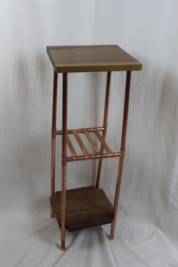 Custom Made Walnut And Copper Pipe Side Table