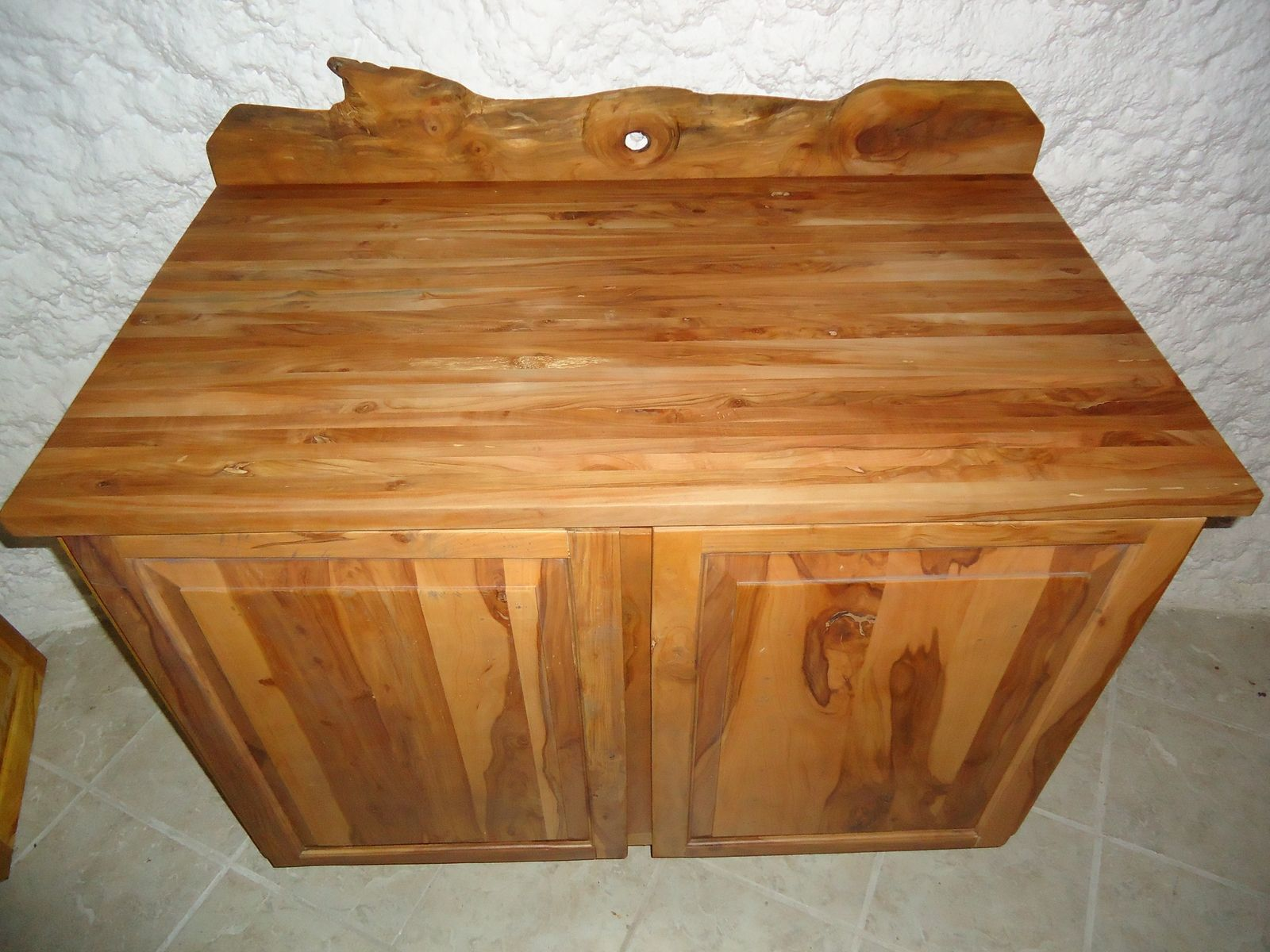 Custom Apple Wood Cabinet With Butcher Block Top By