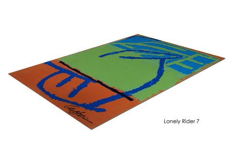 "Custom Made ""Lonely Rider 7"" Inspired By Israeli Artist, David Gerstein- Custom Rugs Collection By Allure Rug."