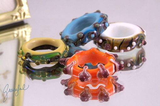 Custom Made Graceful Lampwork Big Hole Glass Rings In Many Colors (4)
