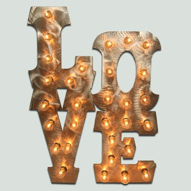 Custom Made Love Lighted Metal Wall Art