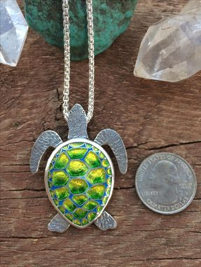Custom Made Cloisonne Enamel Turtle Necklace,  Cloisonne Enamel Sea Turtle