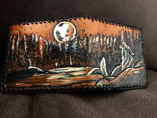 Custom Made Howling Wolf Wallet Night Scene