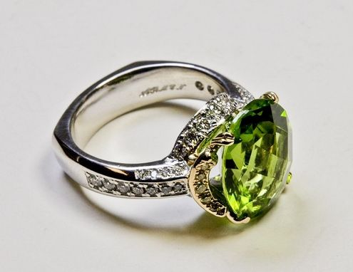 Custom Made Platinum And 18ky Gold Ring With Royal Peridot, White And Yellow Diamonds