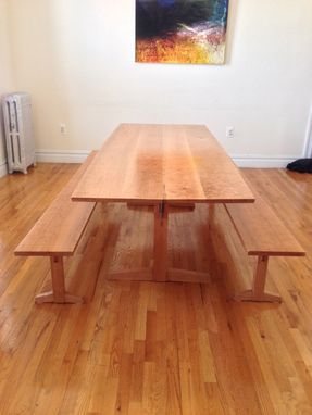 Custom Made Cherry Trestle Table And Benches
