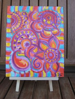 "Custom Made Paisley Painting-Original Abstract Art -8""X10"" Magenta Blue Orange"