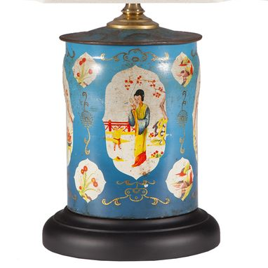 Custom Made Vintage Turquoise Blue Asian Caddy Lamp