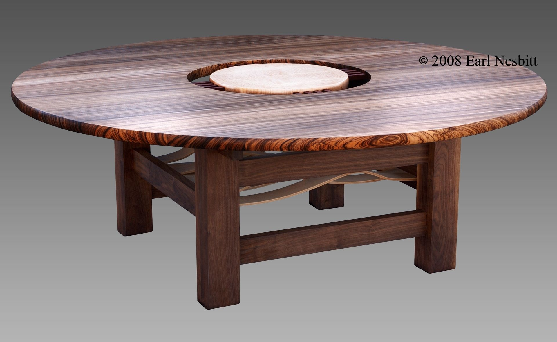 Custom made round dining table zebrawood walnut curly for Unique round kitchen tables