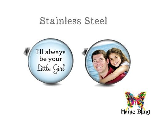 Custom Made Father Of The Bride Custom Cufflinks - Glass And Stainless Steel