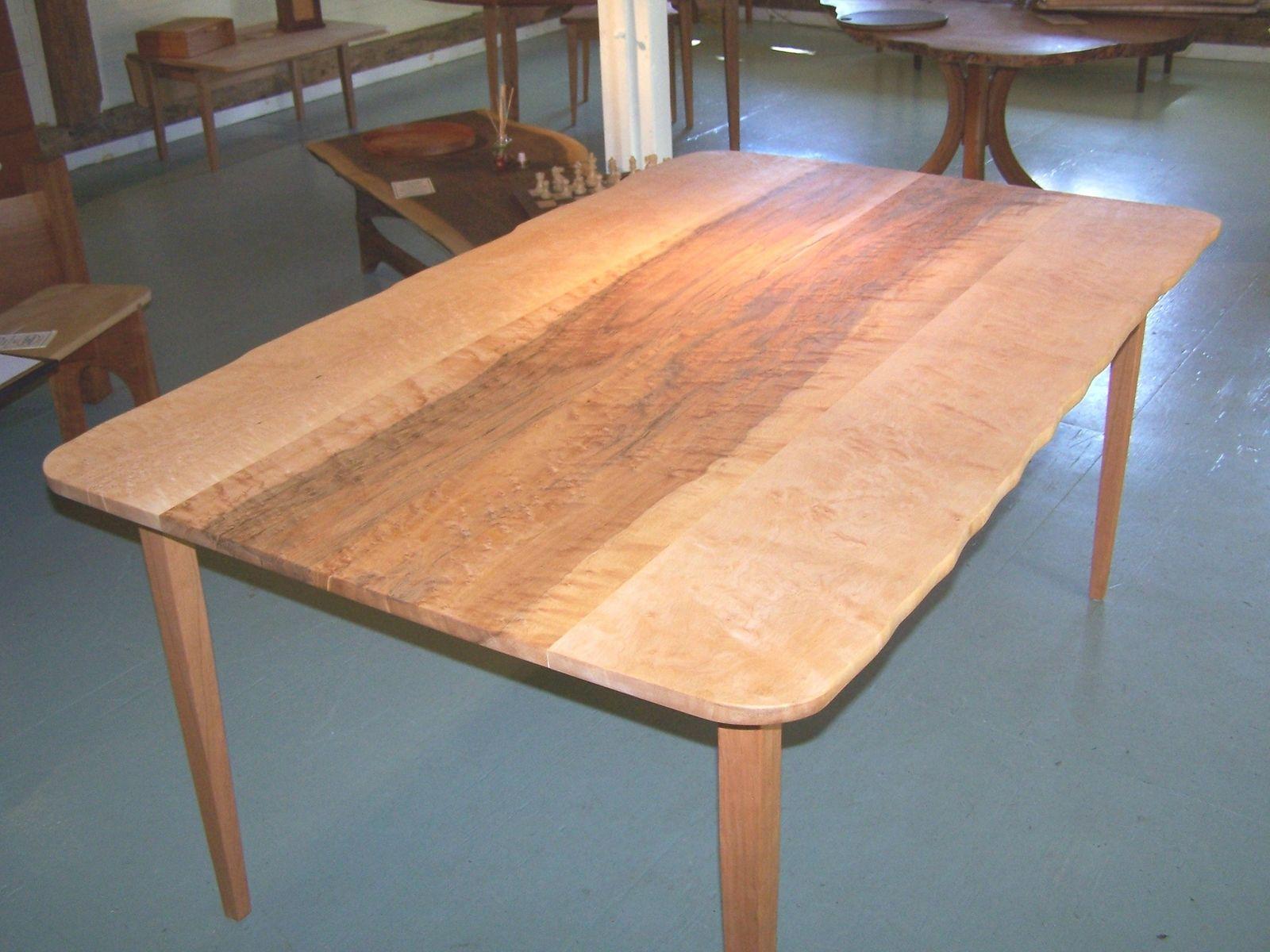 Custom Made Live Edge Birdseye Maple Dining Table