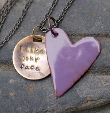 Custom Made Enamel Heart Necklace Handstamped Brass Tag Pendant Enameled Jewelry Purple, I Like Your Face