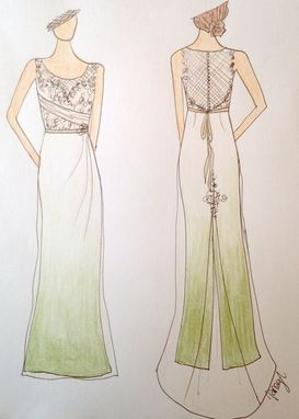Custom Made Pale Green Ombre Wedding Dress