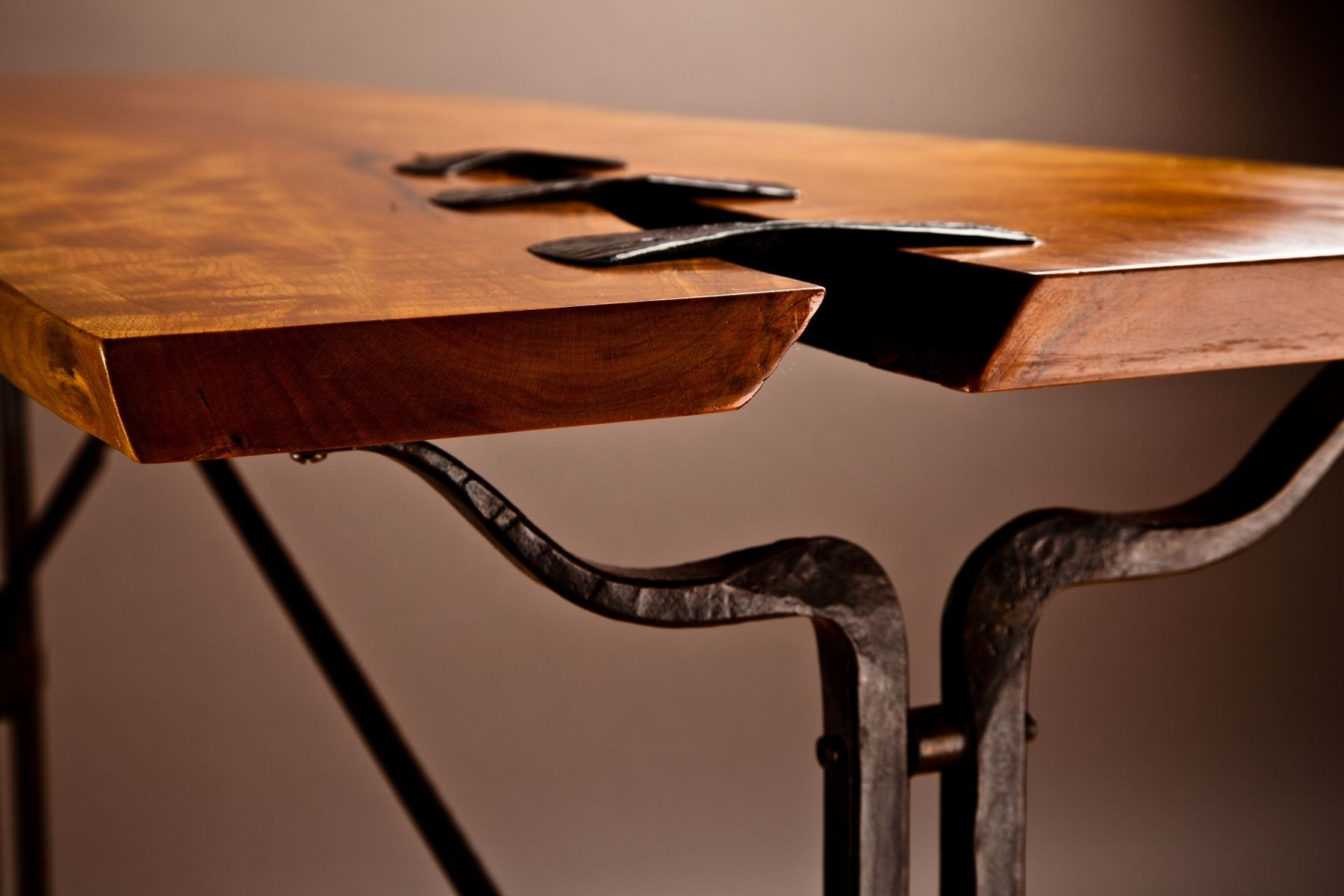 Hand made forged steel and live edge cherry hall table by for Forged iron table base