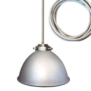 "Custom Made Factory 7"" Metal Shade Pendant Light- Chrome Cord"