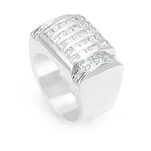 Custom Made Round And Princess Cut Diamond Men's Ring