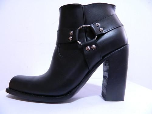 Custom Made Square Toe Detachable Harness Boot 5 Inch Heels Full Grain Leather Made To Order