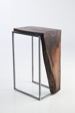 Custom Made Side Table - Solid Black Walnut Top With Metal Base