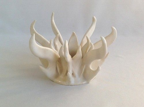 Custom Made White Flame Ceramic Meditation Candle Holder