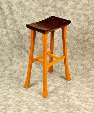 Custom Made Asian Stool In Walnut & White Oak