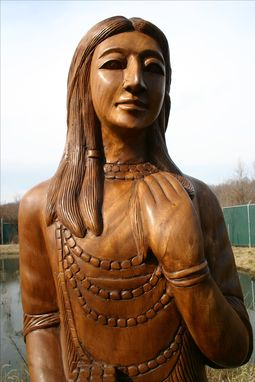 Custom Made Wood Sculpture Tobacco Indian Advertising Statue Mascot Bronze & Carved Wood